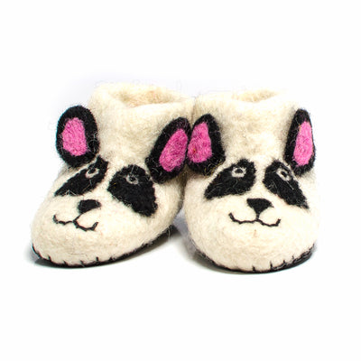 Panda Bear Handmade Felt Slippers - Age 3-4 - Fly Jesse- Unique, special and quality gifts