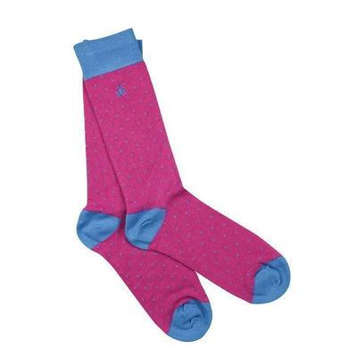 Swole Panda Pink Spotted Blue Bamboo Socks - Women's