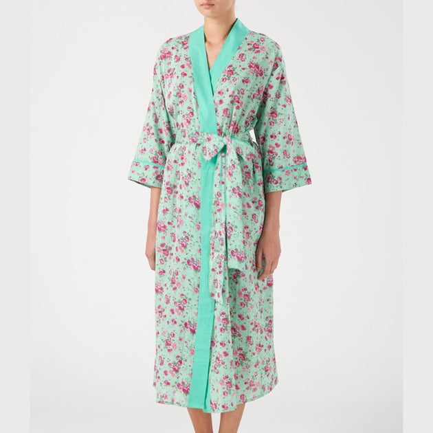 Long Kimono/Dressing Gown in Sea Green, Cotton - Fly Jesse- Unique, special and quality gifts