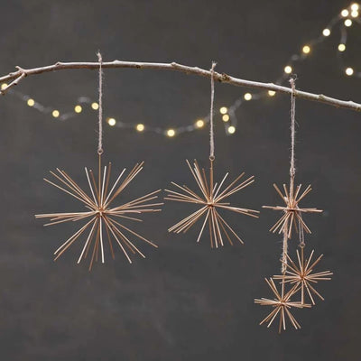Nkuku Dagari Brass Star Decorations - Set of 3