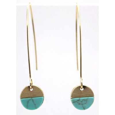 Turquoise Hoop Earrings - Gold Colour - Fly Jesse- Unique, special and quality gifts