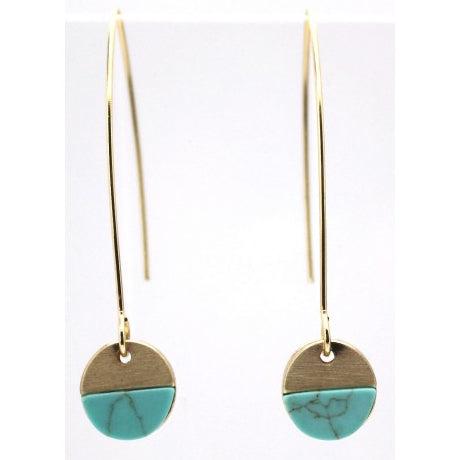 Turquoise Stone With Brushed Metal Hoop Earrings In Gold - Fly Jesse- Unique, special and quality gifts