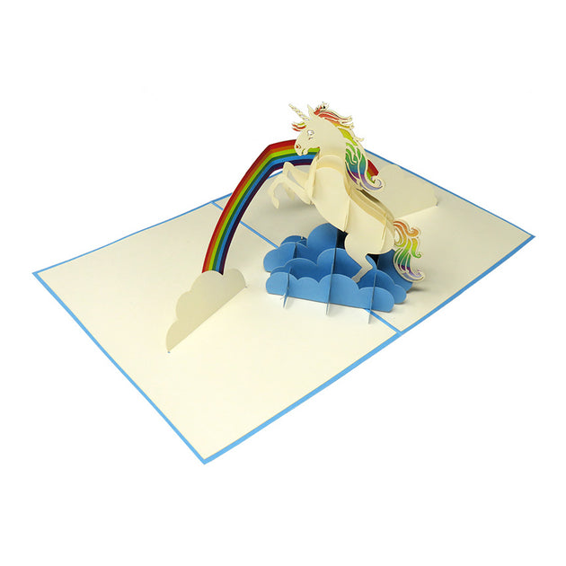 Unicorn Jumping Over the Rainbow Pop Up Card