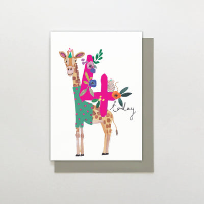 Stop The Clock Design 4 Today Giraffe Birthday Card