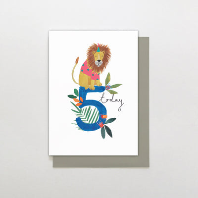 Stop The Clock Design 5 Today Lion Birthday Card