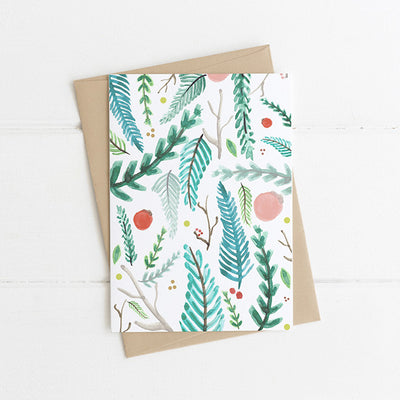 Watts Illustration Christmas Branches Card