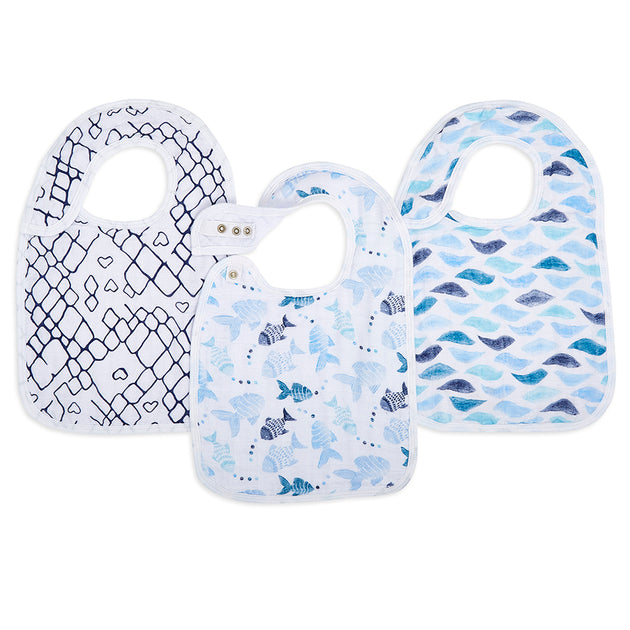 Aden & Anais Gone Fishing Classic Snap Bibs - 3 Pack