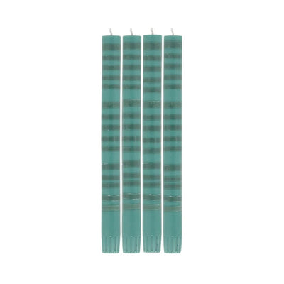 Striped Beryl & Bokhara Eco Dinner Candles - 4 Pack