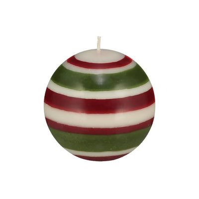 Large Striped Ball Eco Candle In Guardsman Red, Pearl & Olive - Fly Jesse- Unique, special and quality gifts