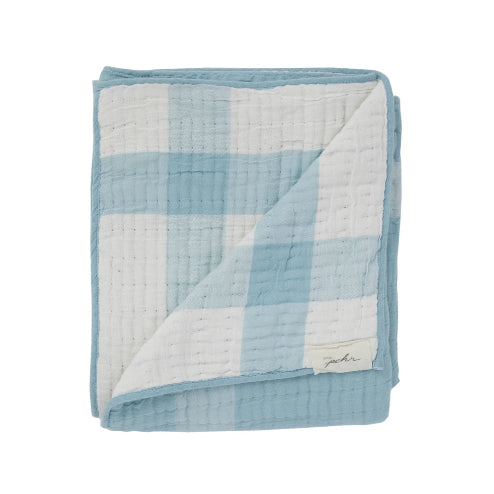 Petit Pehr Sidekick Blue Check Cotton Blanket - Fly Jesse- Unique, special and quality gifts