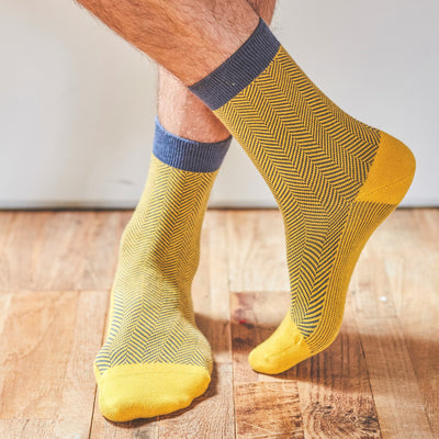 Men's Cotton socks Yellow Herringbone - Fly Jesse- Unique, special and quality gifts
