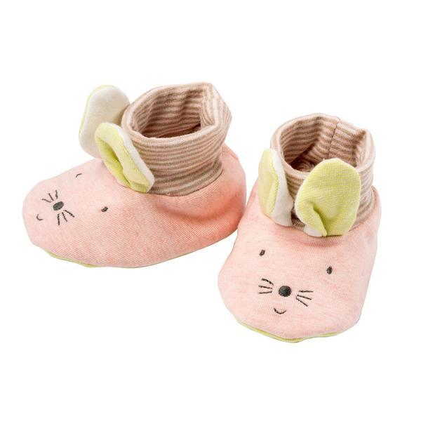 Moulin Roty Pink Mouse Baby Slippers