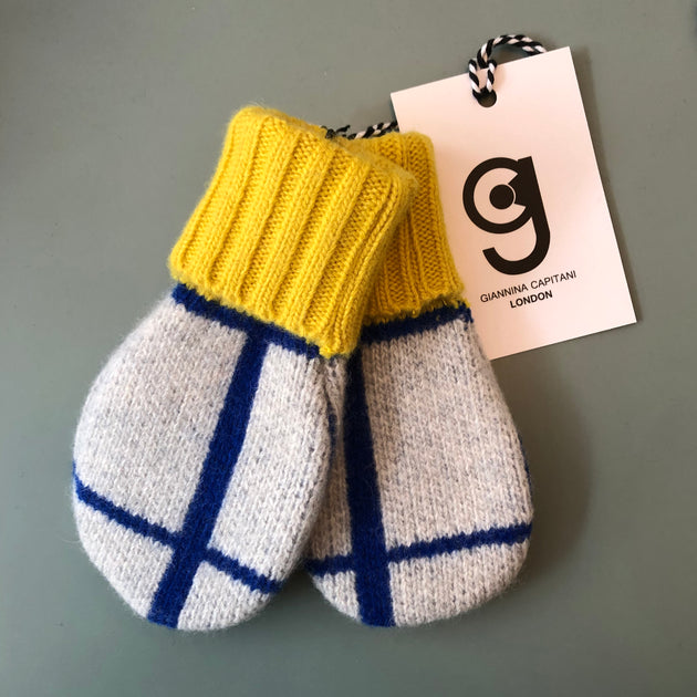 Giannina Capitani Grid Baby Mittens in Blue & Yellow