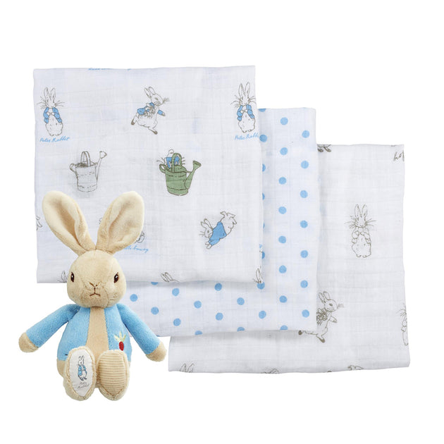 Peter Rabbit Soft Toy & Muslin Gift Set - Fly Jesse- Unique, special and quality gifts