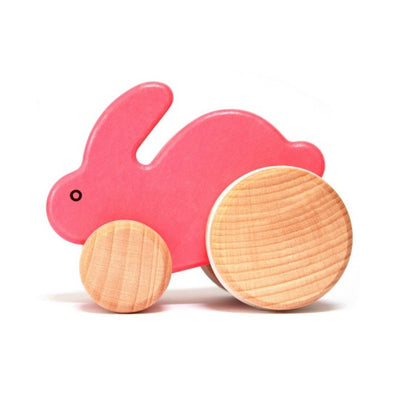 Bajo Small Pink Wooden Push Along Rabbit
