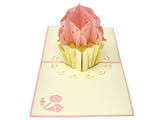 Cupcake with Pink Topping Pop Up Card - Fly Jesse- Unique, special and quality gifts