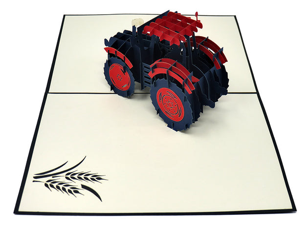 Red Tractor Pop Up Card
