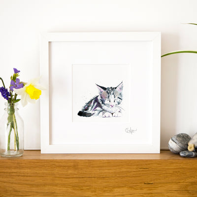 Inky Kitten Illustration Framed Print