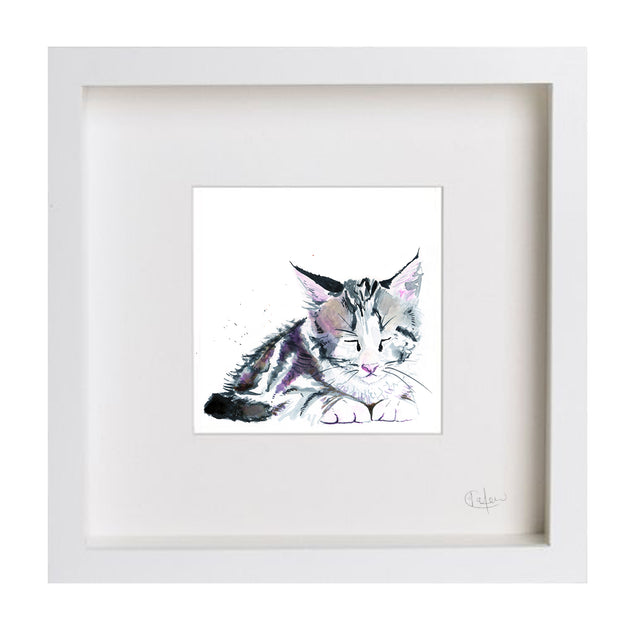 Inky Kitten Illustration Framed Print - Fly Jesse- Unique, special and quality gifts