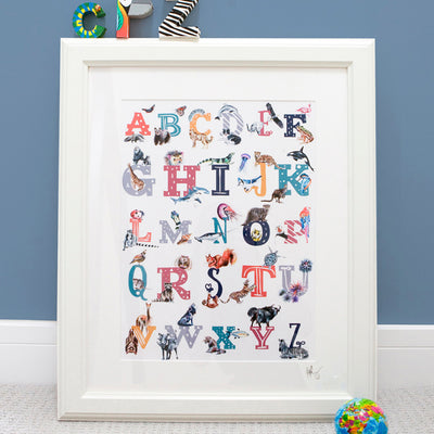 Inky Alphabet A To Z Animal Nursery Framed Print - Fly Jesse