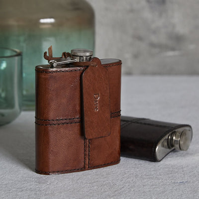 Leather Hip Flask - Light Brown - Fly Jesse- Unique, special and quality gifts