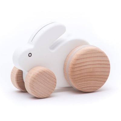 Bajo Small White Wooden Push Along Rabbit