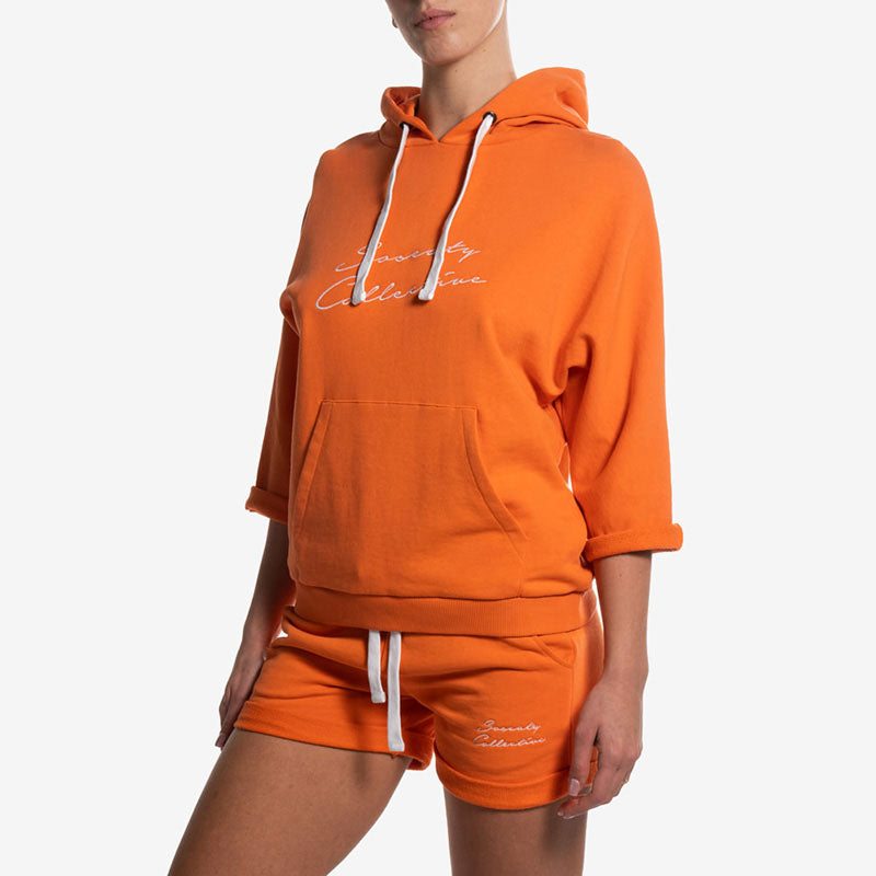 hoodie yoga orange felpa cappuccio arancione side