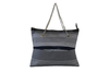 Borsa shopper in tessuto blu intreccio con manici in catena