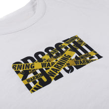 "Load image into Gallery viewer, Too Dark To See Tomorrow ""Warning Logo Tee""(White)"