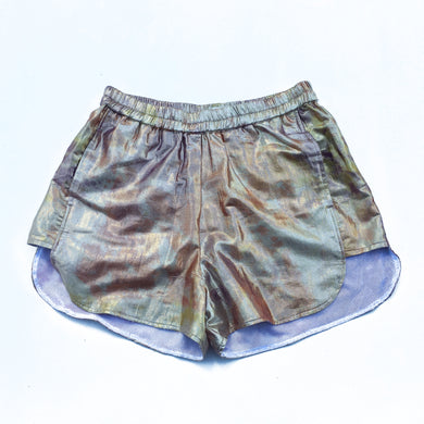 Nor Black Nor White Gold Shimma Mini Shorts