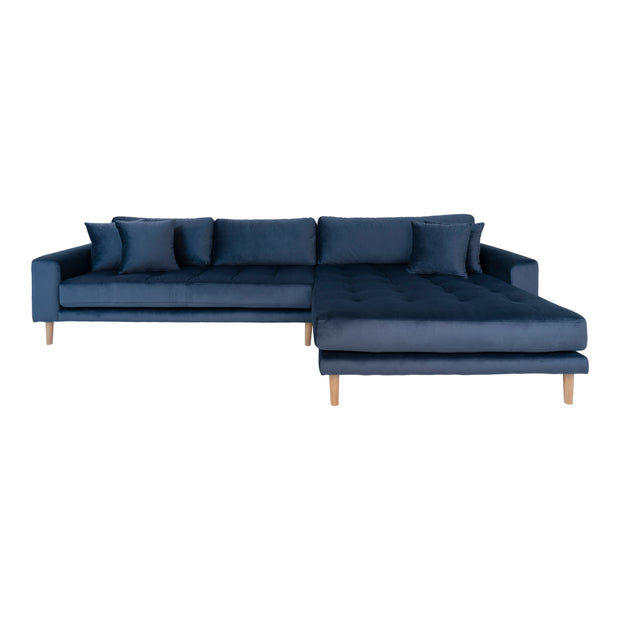 Lounge sofa mørkeblå velour