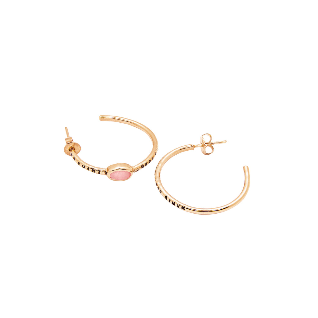 "BOUCLES D'OREILLES ""UN POINT ROSE"""