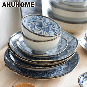 Japanese Wave Pattern Ceramic Dinnerware