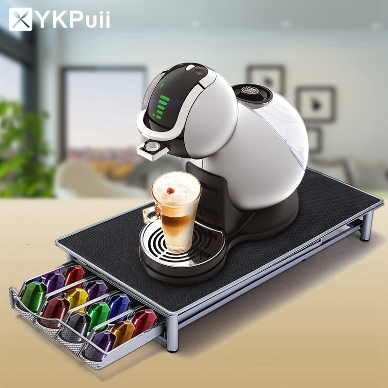 Stainless Steel 36 Cups Nespresso Coffee Capsules Pod Holder Storage Stand Rack Drawers Coffee Capsules Shelves Organization