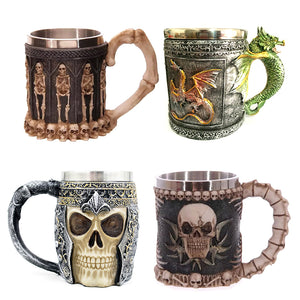 11 Style Double Wall Stainless Steel 3D Skull Mugs