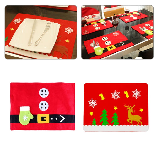 Christmas Placemat With Tableware Holder Bag