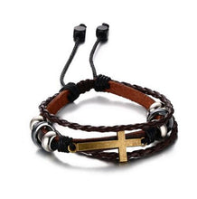 Leather, Beads and Cross Bracelet - Amen Style - Christian Jewelry, T-shirts and Decor