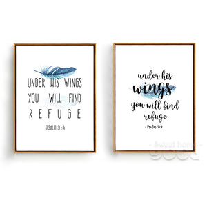 Psalm 91:4 Under His wings - Beautiful Bible Verse Print Poster - Amen Style - Christian Jewelry, T-shirts and Decor