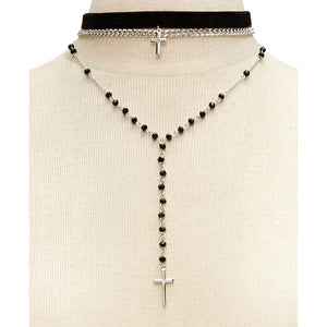 Choker style Double Cross Necklace - Amen Style - Christian Jewelry, T-shirts and Decor
