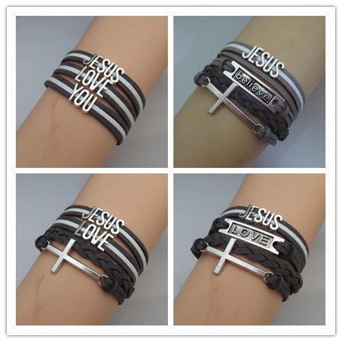 Layers of Faith - Leather and faith charms bracelet