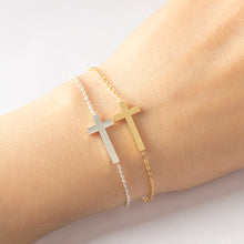 Delicate Sideways Cross Bracelet