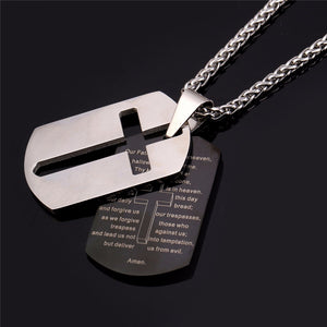 Lord's Prayer and Cross - Men Necklace - Amen Style - Christian Jewelry, T-shirts and Decor