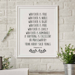 Philippians 4:8 Think about such things - Bible Verse Print Poster