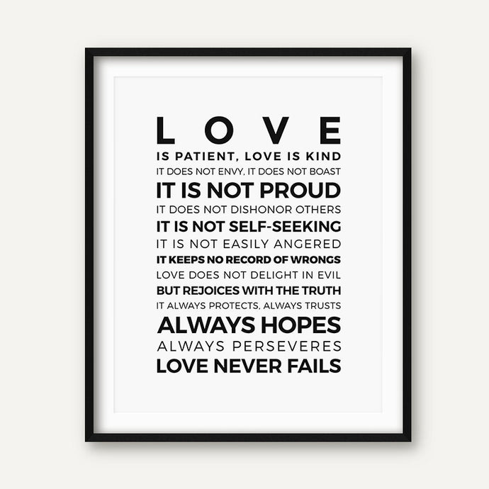 1 Corinthians 13 and Galatians 5 - Great Typography Bible Verses Poster Print