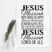Name above all names - Names of Jesus Poster Print - Amen Style - Christian Jewelry, T-shirts and Decor