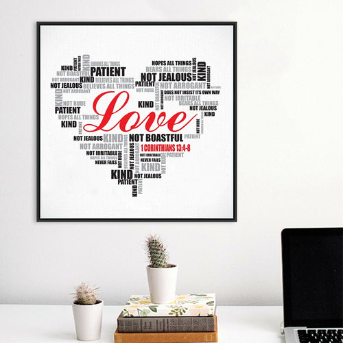 1 Corinthians 13 Love is... - Modern Heart Bible Verse Print Poster - Amen Style - Christian Jewelry, T-shirts and Decor