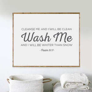 Psalm 51:7 Wash Me - Scripture Poster Canvas Painting