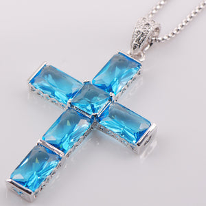 Sterling Silver and Blue Zircon Gem Stone Crystal Cross