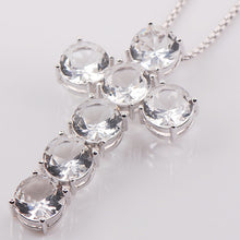 White Zircon Gem-Stone Crystal and Sterling Silver Cross Necklace
