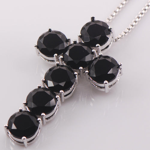 Black Onyx Gem-Stone and Sterling Silver Cross Necklace